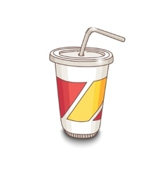 Cute hand-drawn cartoon style cup with drink vector