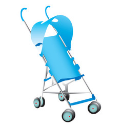 A blue baby stroller on white vector