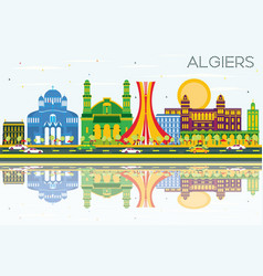 Algiers skyline with color buildings blue sky and vector
