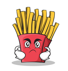 angry french fries cartoon character vector image vector image
