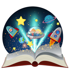 astronomy book with kids in spaceship vector image