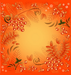 autumn background with leaves and berries of rowan vector image vector image