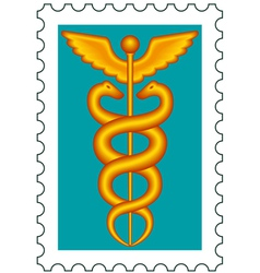 Caduceus stamp vector image