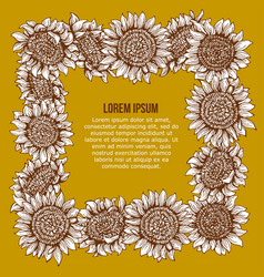 Card with graphic sunflower frame vector