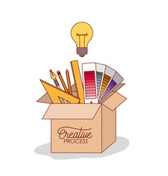 carton box with work elements inside graphic vector image