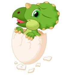 Cute dinosaur cartoon hatching vector