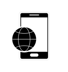 Earth globe diagram and cellphone icon vector