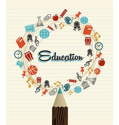 Education global icons back to school pencil vector image