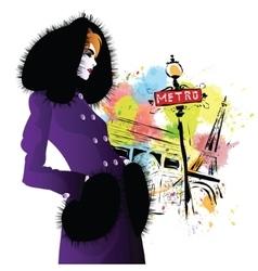 Fashion girl in retro style vector
