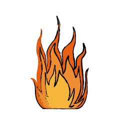 Fire hot flame spurts campfire burn heat vector