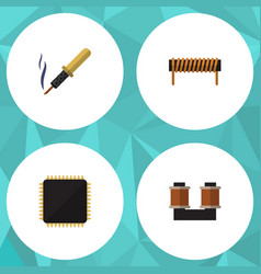 Flat icon technology set of cpu coil copper vector