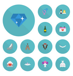 Flat icons posy building wedding gown and other vector