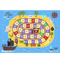 Flat style of kids pirate board game vector