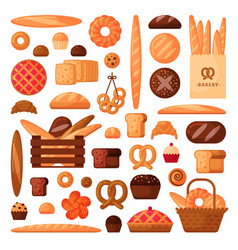 Fresh bread and pastries in flat style vector