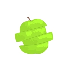 Green sliced apple funky hand drawn fresh fruit vector
