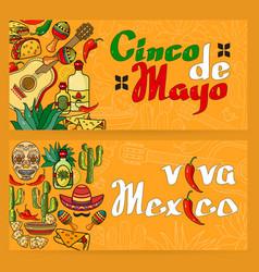 handwritten words viva mexico cinco de mayo vector image