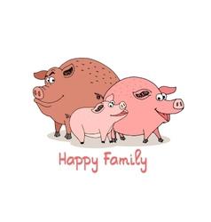 Happy family of fun cartoon pigs vector