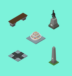Isometric street set of bench intersection dc vector