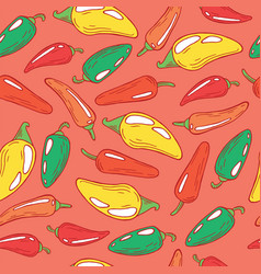 jalapeno pepper on pink - seamless pattern vector image