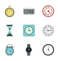 Kinds of watches icons set flat style vector