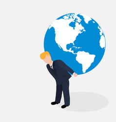 Man carrying the world vector