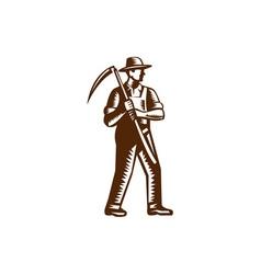 Organic Farmer Holding Scythe Woodcut vector image vector image