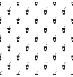Paper cup with straw pattern simple style vector image