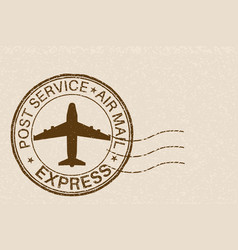 Post service express postmark with airplane sign vector