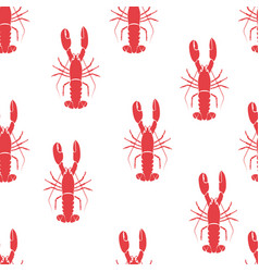 red lobster seamless pattern vector image vector image