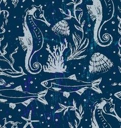 Seamless background with sea life scene vector image