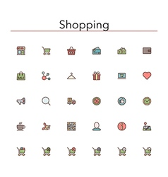 Shopping Colored Line Icons vector image vector image