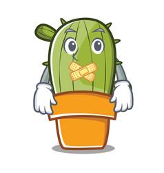 silent cute cactus character cartoon vector image