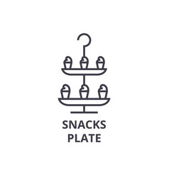 snacks plate line icon outline sign linear vector image