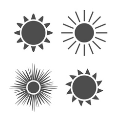 Sun icons set gray signs isolated white vector