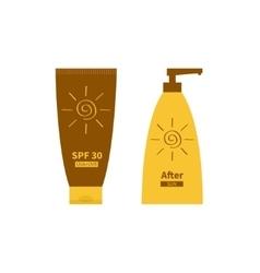 Tube of sunscreen suntan cream after sun lotion vector