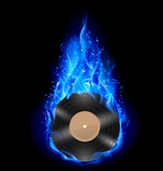 Vinyl disc in blue fire vector image vector image