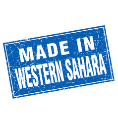 Western sahara blue square grunge made in stamp vector