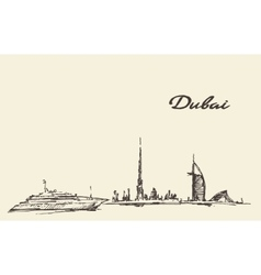 Dubai city skyline silhouette drawn vector