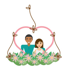 couple lovely heart frame flowers decorative vector image