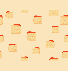 Seamless pattern with cheese cheese with holes vector