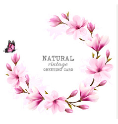 Natural vintage greeting card with pink magnolia vector