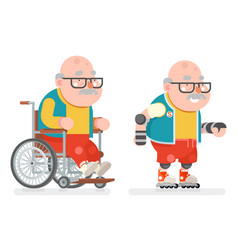 Wheelchair grandfather active lifestyle roller vector