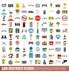 100 district icons set flat style vector