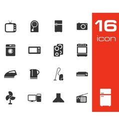black home appliances icon set on white background vector image