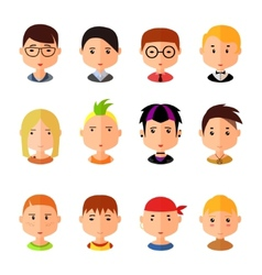 set of cartoon avatar flat boy icons vector image