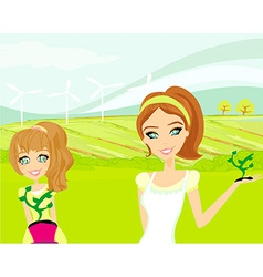 Mom and daughter care about the environment vector