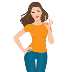 Beautiful girl showing ok sign vector
