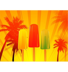 Tropical sunset with ice lolly vector