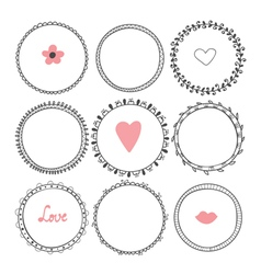 Romantic collection with hand drawn round frames vector