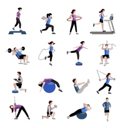 Fitness men women flat icons set vector